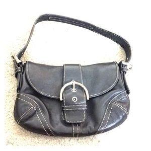 💕 Coach black leather nice small hobo bag 💕